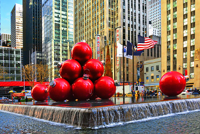 Giant Red Ornament Display NYC