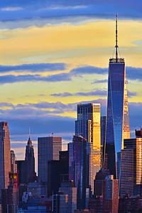 Freedom Tower Striped Sky Sundown