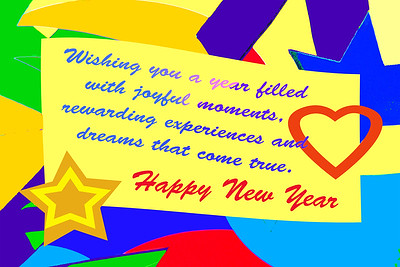 Happy New Year Color Block Card