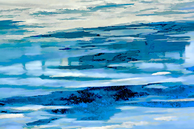 Frosted River Abstract in Blues II