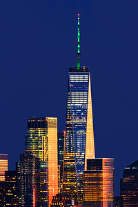 One World Trade Topped in Green
