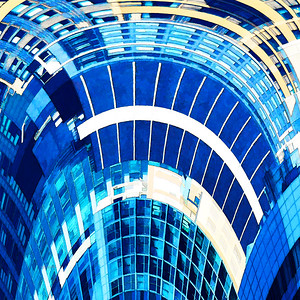 Abstract Architecture Art in Blues