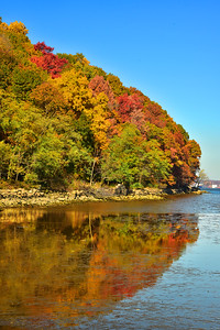 NJ Palisades Cliffs Autumn and Hudson River