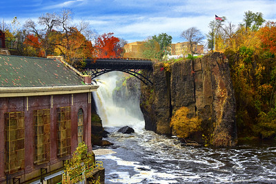 Historic Great Falls and Mill Autumn Landscape