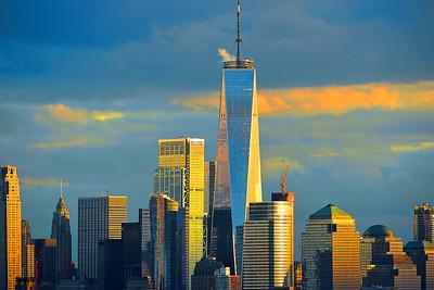 Blue and Golld Lower Manhattan Sundown