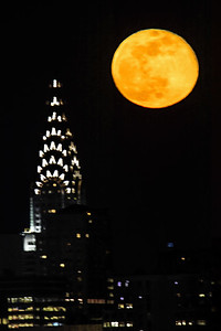 NYC Chrysler Building and April Full Moon 2