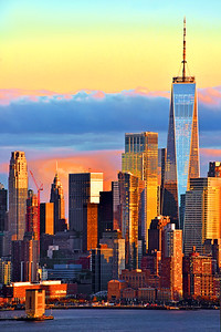 NYC One World Trade Sundown Colors