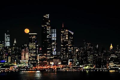 Manhattan Skyline and April Full Moon