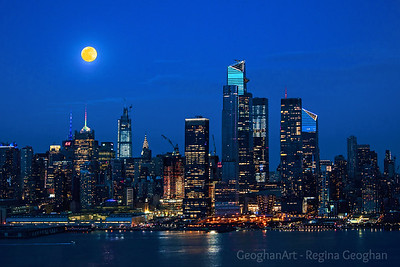 NYC Twilight and April Full Moon