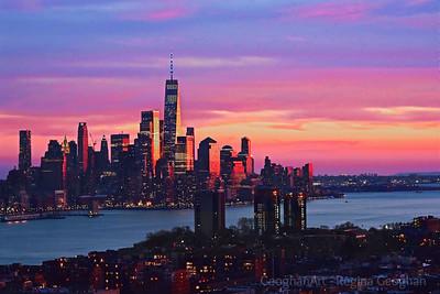 December Sundown over New York Harbor