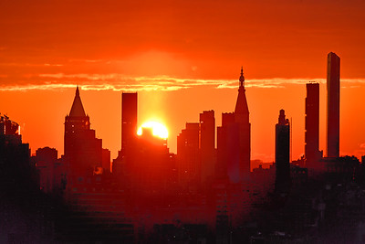 NY Skyscrapers-Orange Glow at Sunrise