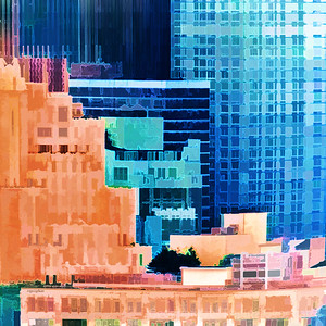 Sundown Painted City Abstract Square 2