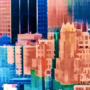 Sundown Painted City Abstract Square I