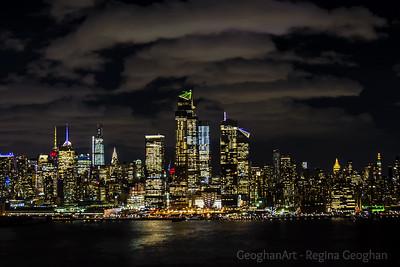 NYC Skyline Cloudy NIght Skies