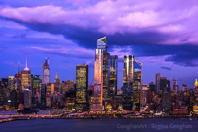 NY Skyline  Purple Twilight