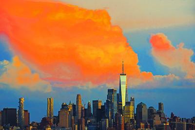 Lower Manhattan under Sundown Orange Clouds
