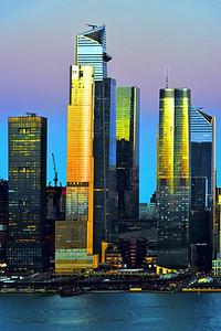 New York Hudson Yards at Sundown
