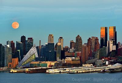 NYC Skyline and Beaver Moonrise