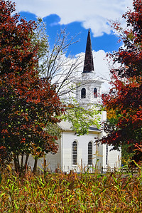 Country Church and Cornfield in Autumn