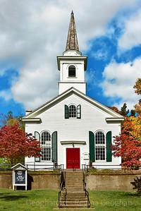 Historic Village Church and Autumn Foliage