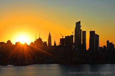 NYC October Sunrise Silhouette
