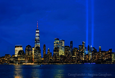 NYC Tribute in Light Beams at Twilight