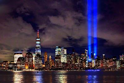 Blue Tribute Lights Beaming above Manhattan
