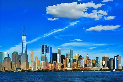 Lower Manhattan Cityscape on a September  Day