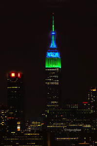 Day 034: Empire State Building Seattle Seahawks Colors - February 3.  Congratulations to the Seattle Seahawks - Winners of Super Bowl XLVIII.