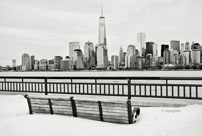 Day 048: NYSkyline-One World Trade - February 17.  One World Trade Center and lower Manhattan viewed from snowy Liberty  State Park in NJ. One of two posts from a visit to the park yesterday.