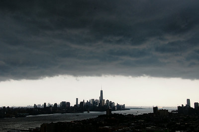 Day 182: NYC Approaching Storm - July 3. Another shot of the storm clouds approaching, this one looking South toward Lower Manhattan, Hoboken and New York Harbor.