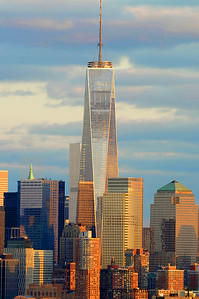 Day 167:  One World Trade at Sundown - June 16.  Lovely light and colors on lower Manhattan and One World Trade Center over the weekend.