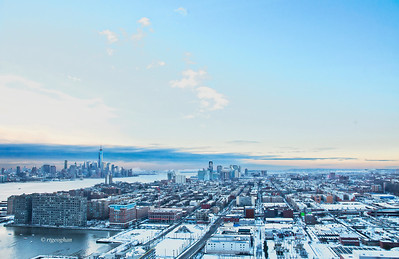 Day 022: Frosty Morning Blues. - January 22.  view overlooking Hoboken NJ in the foreground and Jersey City in the background on the right and lover Manhattan and Hudson River on the left.  The morning after a nasty snowstorm blanketed the Northeast.