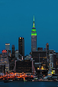 Day 077: NYSkyline St. Patrick's Day Colors - March 18. The Empire State Building has been lit in green white and orange for St.Patrick's Day weekend, beginning at sundown on Friday until sunrise this morning. I've posted two shots - this one taken in the evening and one taken at dawn this morning.