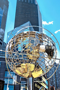 Day 084:- NYC Trump Hotel and Tower Globe: March 25.  This steel globe, by sculptor Kim Brandell, is located at Columbus Circle at the Southwest corner of Central Park.   It is 30 feet in diameter and represents the current land mass of the glove.