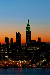 Day 077: NYSkyline St. Patrick's Day Colors - March 18. The Empire State Building has been lit in green white and orange for St.Patrick's Day weekend, beginning at sundown on Friday until sunrise this morning.  I've posted this shot taken at dawn as well as a night shot. which in a dawn