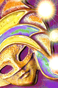 Day 063: Mardi Gras - March 4.  A little digital fun for Mardi Gras.  A photo of a Mardi Gras mask that is on an old keychain of mine - against a piece of cardboard and colors saturated in PS. Topaz Star filter to highlight the bling.