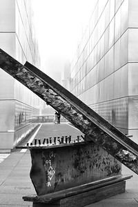Day 135: EmptySky 9/11 Memorial Site - May 15.  I'm adding a second post late in the day today in acknowledgement of the dedication of the 9/11 Museum in NYC at the Ground Zero site.  I watched the opening on television and was deeply moved - it brought back so many sad, horrific memories of that day.  I decided to visit the Empty Sky Memorial located in Liberty State Park and captured this shot.  Definitely needs to be seen in large size for detail. Heartfelt prayers for those lost and their loved ones as well as a huge thanks to all of the first responders. The beam is from the World Trade Center.  The memorial has the names of all those from N.J. who perished etched on the stone.  On a clear day, one can see the new World Trade Center across the river from inside the memorial.