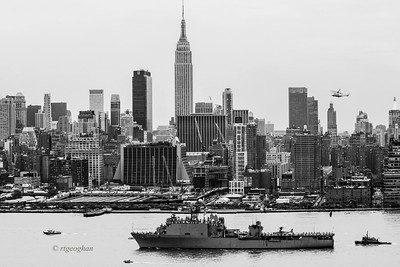 Day 142: Fleet Week_ USS Oak Hill - May 22,   The navy ship USS Oak Hill arriving in NYC at the start of Fleet Week.  She is berthed at a pier near the Intrepid Air and Space Museum.  It was neat to see the sailors in their whites lined up on deck as the cruised up the Hudson River.