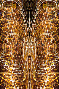 Day 260: City Lights Abstract - Sept 20.   No chance for photo time yesterday until very late at night.  This is a shot of city lights with camera movement and then mirrored in PS.