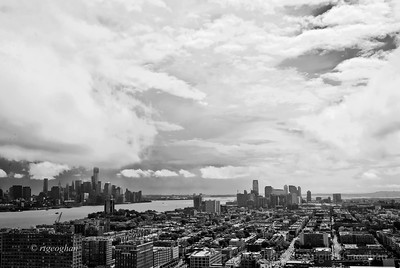 Day 241: Stormy Skies - Hoboken and Lower Manhattan - August 28. Rain in the morning yesterday then beautiful clouds as the skies began to clear.   View of Hoboken in foreground, Hudson River, lower Manhattan and New york Harbor,