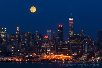 Day 245: NY Skyline August Blue Moon - Sept 1.  Image taken last night August 31.
