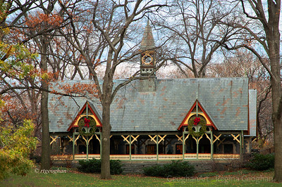 Day 350: NYC Central Park Dairy House- Dec 16.  Quincy wrote that he plans to post a Christmas picture feach day from now until Christmas.  I may just join him in doing this since I need to focus on the positive, loving, giving, healing that this holiday offers. This is an image of the Dairy House at Central Park taken earlier in the week.  This Victorian cottage was designed and built to be a retreat for children and their caregivers.  Beginning in the 19th Century, it was a source of dairy products and became a place for families to gather to drink milk and enjoy snacks.   By the 1950's, the building had deteriorated so badly that it was turned into a maintenance shack.  In 1979, the park admnistrators began restoration of the building and turned it into one of the park Visitor Centers.