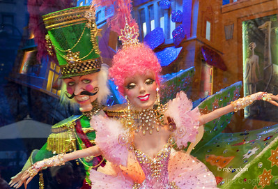 Day 351: Macys Holiday Window- Dec 17.  Two of the colorful, charming puppets in the windows display at Macys NYC this year.