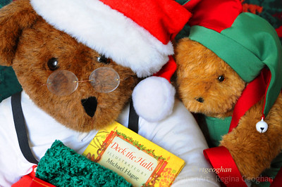 Day 335: Christmas Bears - Dec 1.  Well, it is the first of December and Santa Bear and his helpers are getting into the Christmas spirit.  Started a collection of Christmas bears when my grandchildren were babies and it still makes me smile when I take them out for the holidays.
