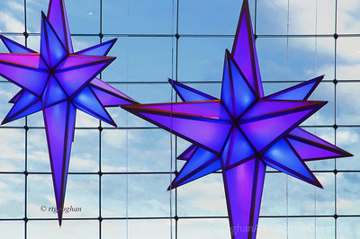 Day 345: Star Lights Time Warner Center NYC - Dec 11.   Stars hanging from the lobby ceiling at Time Warner Center at Columbus Circle NYC.  The stars change color and are quite lovely to see.  Will post more images later in the week.