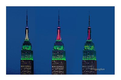 Day 347: Empire State Building Robin Hood Relief Concert Fund Colors - Dec 13.  The Empire State Building was 'in tune' last night with the Robn Hood Relief Fund 121212 Concert.  It was lit to honor the fund and the new lighting system provided an interesting twist as the red and white colors rotated around the top of the spire.  Hard to get the effect with still camera shots but fun to watch.