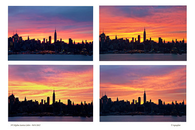 Day 39: NY Skyline Sunrise Composite - February 8, 2012.  Well...I promised myself last night - no more skyline posts for a while.  But then, woke up before dawn this morning and couldn't get back to sleep.  Knowing that cloudy skies were predicted, I decided to take a chance and be outside and ready to shoot dawn colors.  The colorful skies were amazing.  Interestingly, by the time the sun came up, there was almost no color left in the sky.  Top left was the first shot and bottom right was the fourth in the sequence, taken only moments apart.