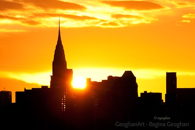 Day 54: NY Skyline Sunrise- February 23, 2012.  A small slice of the NY Skyline this morning as the sun rose behind the Chrysler Building.