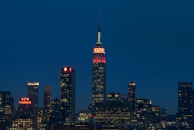 Day 45: New York Skyline lit for St. Valentine's Day -  February 14, 2012